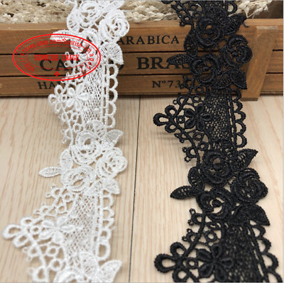 1 Yard Crochet Lace Trim Wedding Ribbon Applique Dress Sewing Decor Crafts FL247