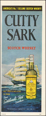 Vintage ad for Cutty Sark Blended Scots Whisky art sail boat ocean  092217