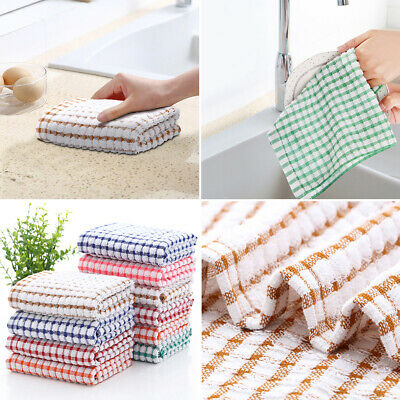 Terry Cotton Tea Towels Set Kitchen Dish Cloths Cleaning Drying Washcloths DP