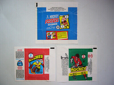 Lot 3 1974/75 1976/77 1977/78 O-Pee-Chee Wha Hockey Poster & Card Wrappers Opc