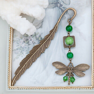 Antique Dragonfly Bookmark Turquoise Feather Metal Stationery Reading Accessory