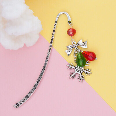 Antique Glass Bookmark Christmas Snowflake Bowknot Stationery Reading Gift Decor