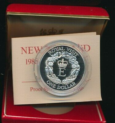 New Zealand: 1986 $1 Royal Visit 0.84oz Silver Proof  coin cased,