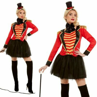 Womens Deluxe Ringmaster Costume Circus Showman Ladies Fancy Dress Outfit