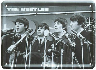 The Beatles PRESS CONFERENCE Metal Sign Steel Small Fridge Magnet (8cm x 11cm)