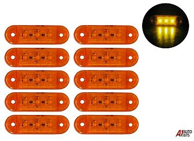 10 Pcs Led Side Marker Blinker Lights Lamps Amber Truck Lorry Lgv Hgv Bus 12-24v