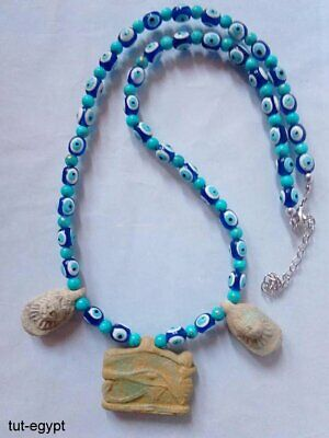 NILE Ancient Egyptian Eye of Horus Amulet Mummy Bead Necklace Faience 600 BC
