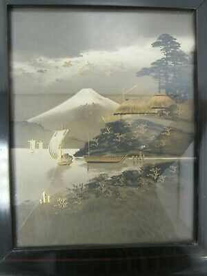 Chinese Japanese Print Sea River Scene Gilded Picture - TRU S3