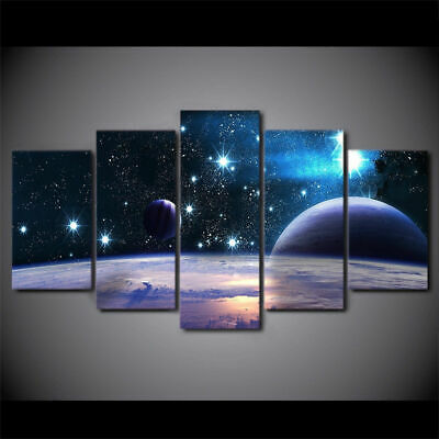 Galaxy Stars Universe Space 5 panel canvas Wall Art Room Home Decor Poster Print