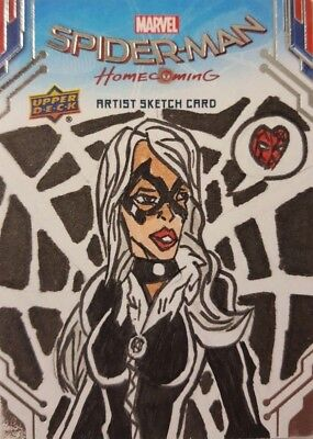 SPIDER - MAN HOMECOMING Hand Drawn SKETCH CARD 1/1 Upper Deck 2017 BLACK CAT