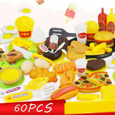 60Pcs Kids Child Pretend Role Play Kitchen Fruit Vegetable Food Toy Cutting Set