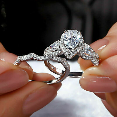 Certified 1.25 Ct Pear Diamond Halo Engagement Wedding Ring Set 14k White Gold