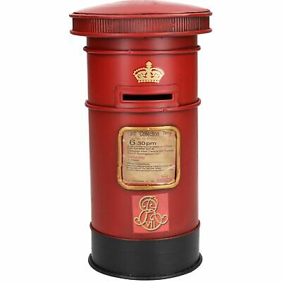 ER Royal Mail Style Post Box Money Change Coin Jar Bank Tin Plate Souvenir Gift