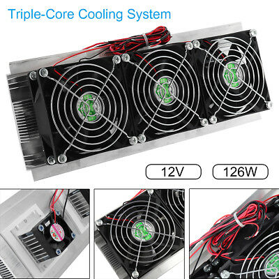180W 12V Thermoelectric Peltier Refrigeration Cooling System Kit Cooler 3 Fan !