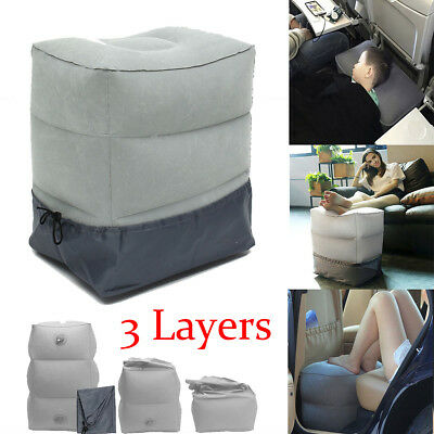 Inflatable Travel Footrest Leg Foot Rest Travel Pillow Portable Pad Kids Bed !