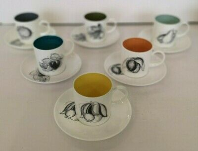 SUSIE COOPER - Wedgwood 'Black Fruits' - Set of Six Coffee Cups and Saucers