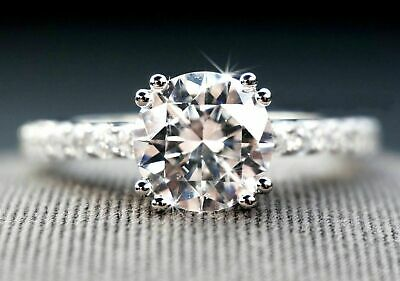 Certified 2.60ct White Round Diamond Engagement Ring in Solid 14K white Gold