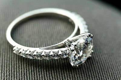 Certified 2.94ct White Round Diamond Engagement Ring in Solid 14K white Gold