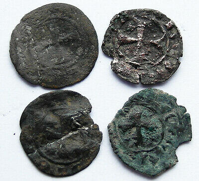 4 genuine ancient Medieval coins with Templar cross
