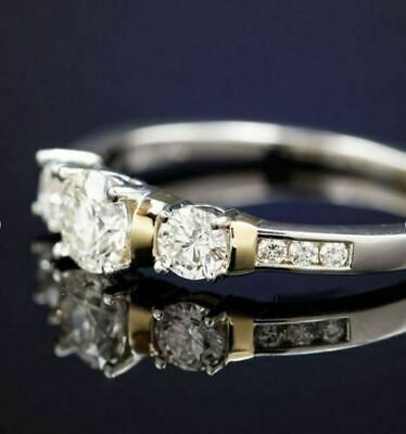 Certified 1.90ct Round White Diamond Engagement Ring in Solid 14K White Gold