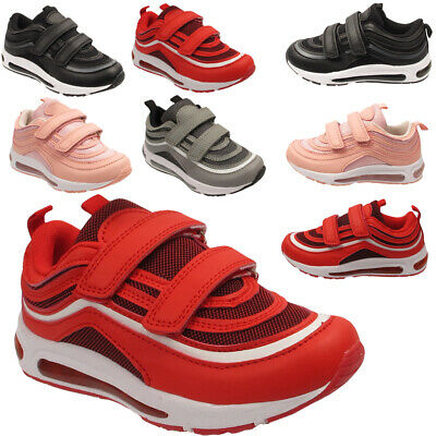 Kids Infant Boys Girls Contrast Colors Touch Strap Trainers School Sports Shoes