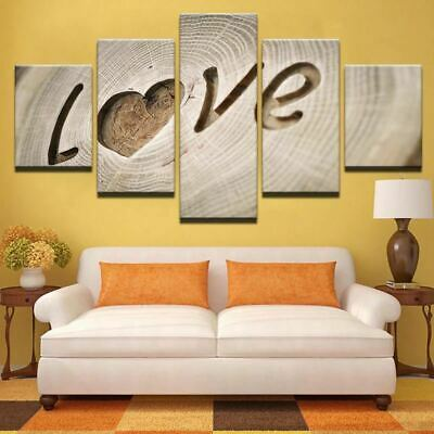 Love Letter Wood Tree Cutout 5 panel canvas Wall Art Home Decor Poster Print
