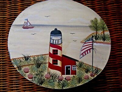 Primitive Folk Art Hand Painted Pantry Box Lighthouse American Flag Scene Signed