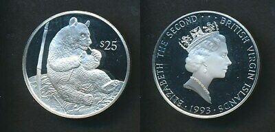 British Virgin Is: US$25 Proof Silver Panda, Wild Life Series, Scarce
