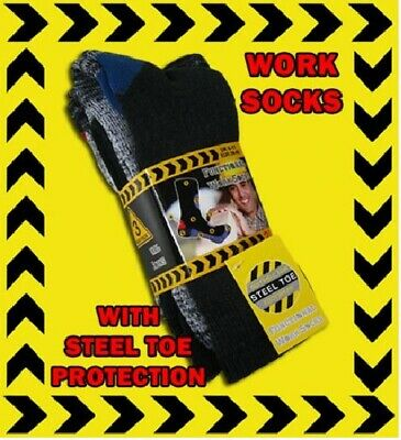 3 Pairs Of Mens Big Foot Heavy Duty Thick Work Boot Socks Size 12-14 Large Feet