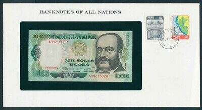 Peru: 1979 1000 Soles Banknote & Stamp Cover, Banknotes Of All Nations Series