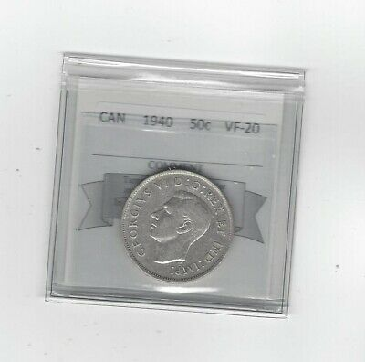 **1940**, Coin Mart Graded Canadian Silver 50 Cent, **VF-20**
