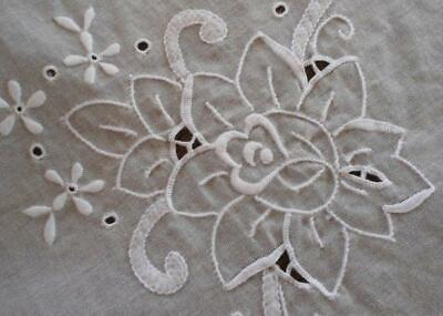 """Vintage Madeira Organdy Banquet Tablecloth Cutwork Embroidered Floral 102"""""""