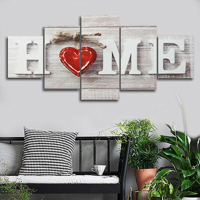 5 Panel Red Heart Home Love Art Unframed Canvas Print Paint Picture Wall Decor !