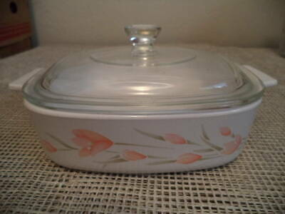 Corning Ware Peach Floral Casserole 1 Liter A-1-B,  with Glass Lid Excellent!
