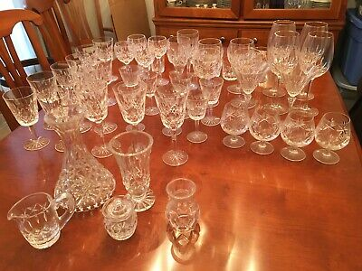 Collection of Waterford Lismore, total of 48 pieces, red, wine, claret and more