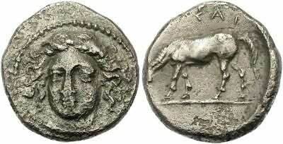 FORVM Larissa Thessaly Drachm 405-370 BC Facing Head of Nymph / Horse Grazing