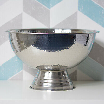 Footed Stainless Steel Punch Bowl Champagne Wine Bottle Cooler Ice Bucket Fruit