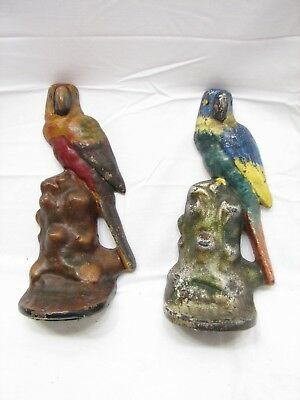 Pr Early Cast Iron Bookends Bird Door Stop Figural Parakeet Doorstop Book End