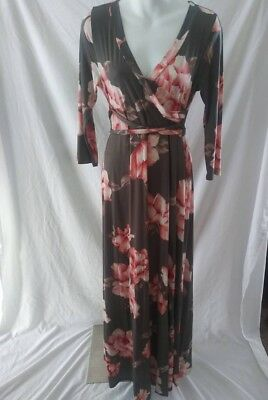 a9b7abcc466ff Hello Miz Maternity Dress Long Floral Wrap W/ Tie Medium Green Pink 3/4
