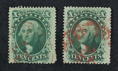 CKStamps: US Stamps Collection Scott#35 (2) 10c Washington Used