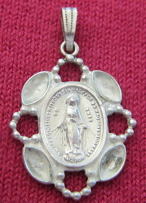 Vintage Catholic Religious Holy Medal - STERLING - MIRACULOUS ORNATE UNIQUE