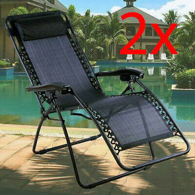 2 X Sun Lounger Outdoor Summer Garden Patio Gravity Chair Recliner Bed Reclining