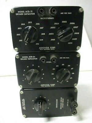 Aerovox Decade Capacitor Box (3) Models ACD 13  23 33 See Values In Photos