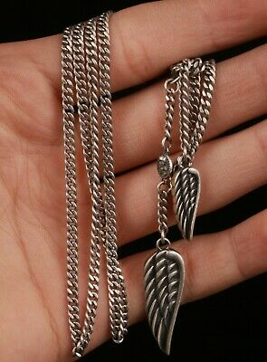 Chinese Silver Hand Carving Leaf Necklace Jewelry Collection Gift