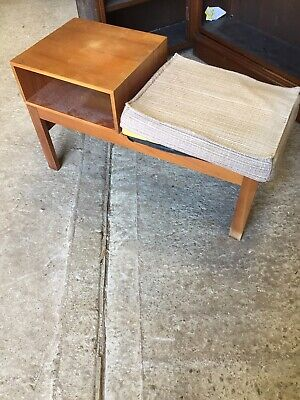 Vintage Retro Mid Century Telephone Seat Table Needs New  Seat By MYER   11/3/U