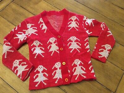 Vintage Novelty Knit sweater cardigan girl paper doll size 4/ 5