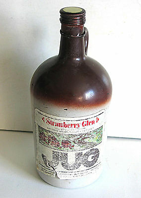 Retro Old Strawberry Glen Jug Vintage 1970s Empty Glass Wine Bottle FREE SH