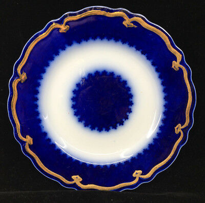 Flow Blue Plate Antique #B1 The Marquis Luncheon Center Decal WH Grindley Gold