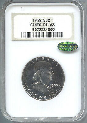 1955 50c Franklin Half Dollar NGC PF68 Cameo Proof CAC
