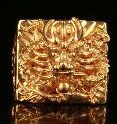 China Gold Plated Hand Carving Dragon Ring Jewelry Collection Gift